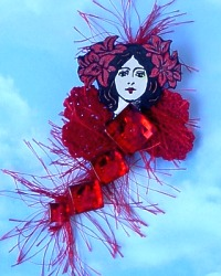 Valentine button fairy art doll